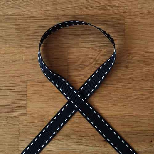 Stitched Grosgrain Ribbon - Black/Ivory - The Village Haberdashery