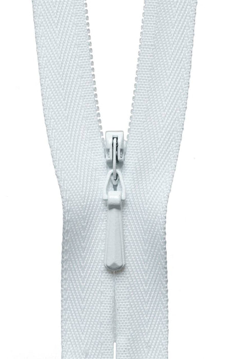 "YKK 16"" Invisible Zip - White 501 - The Village Haberdashery"