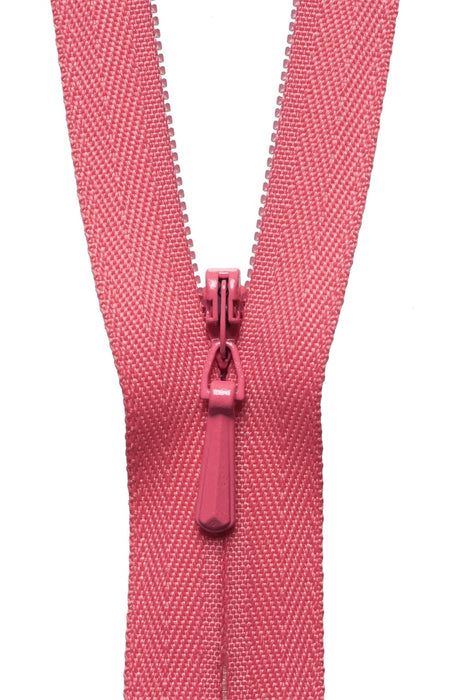 "YKK 22"" Invisible Zip - Coral Pink 338 - The Village Haberdashery"