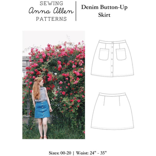 AnnaAllen - Denim Button Up Skirt - PDF - The Village Haberdashery