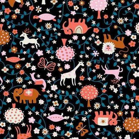 Black Animal Toss Cotton from Liana by Kimberly Kight 37cm Remnant - The Village Haberdashery