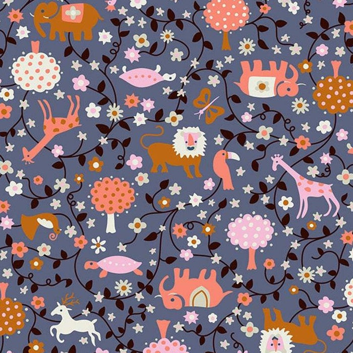 Periwinkle Animal Toss Cotton from Liana by Kimberly Kight - The Village Haberdashery