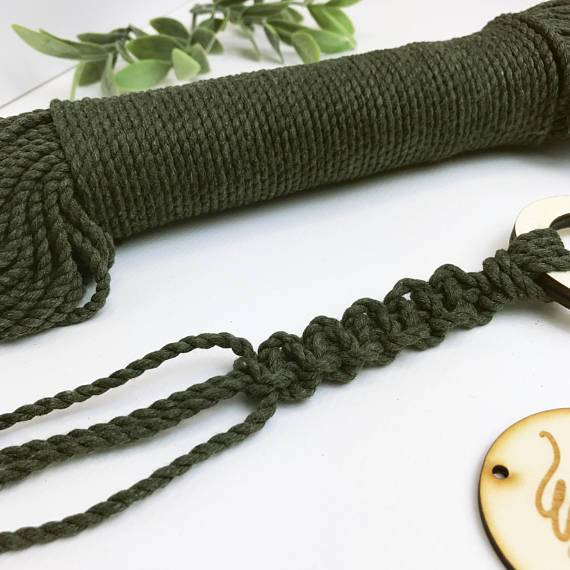 Wool Couture Cotton Macrame Rope - 3mm Olive - The Village Haberdashery