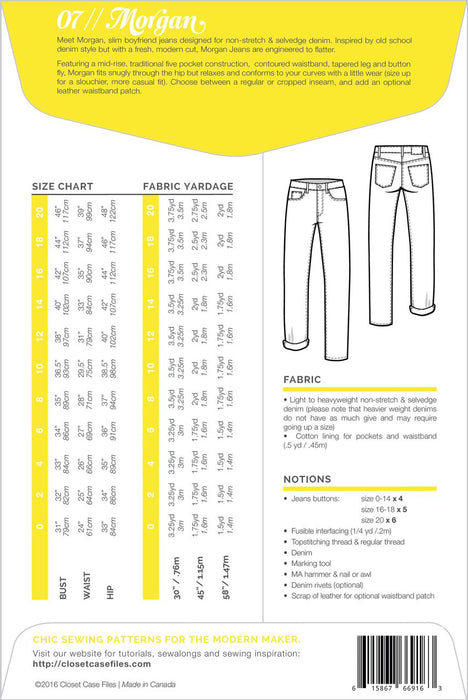 Closet Case Patterns - Morgan Jeans - The Village Haberdashery