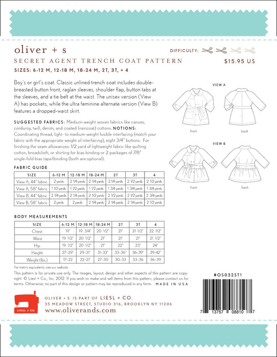 Oliver + S - Secret Agent Trench Coat in Small - The Village Haberdashery