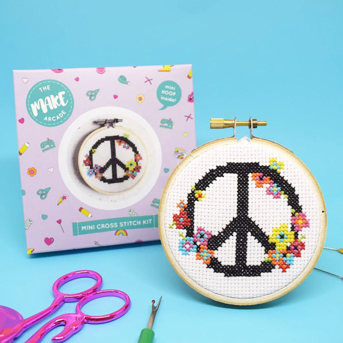 The Make Arcade Mini Cross Stitch Kit - Peace and Love - The Village Haberdashery