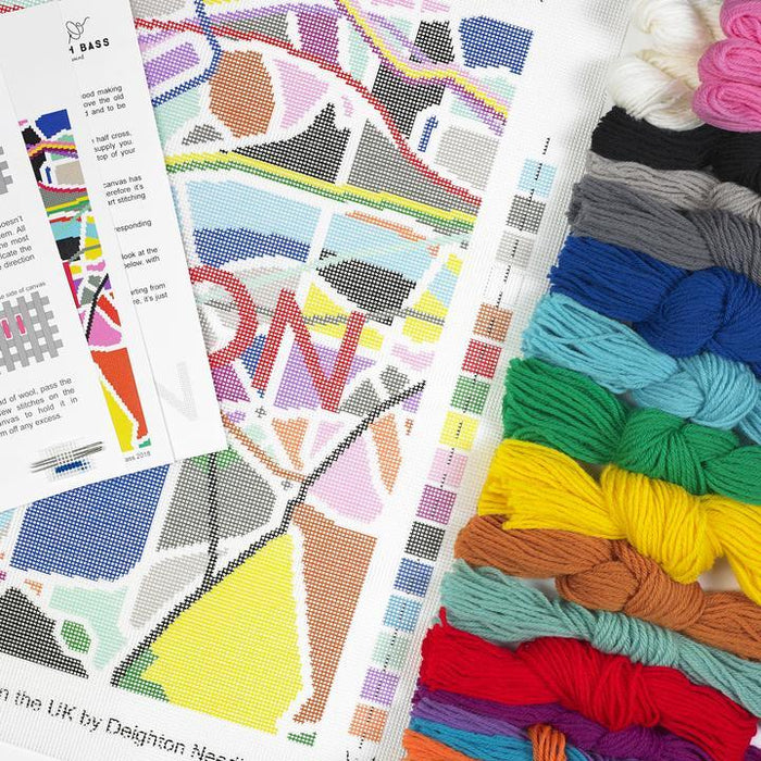 London Tube City Map Needlepoint Kit by Hannah Bass - The Village Haberdashery