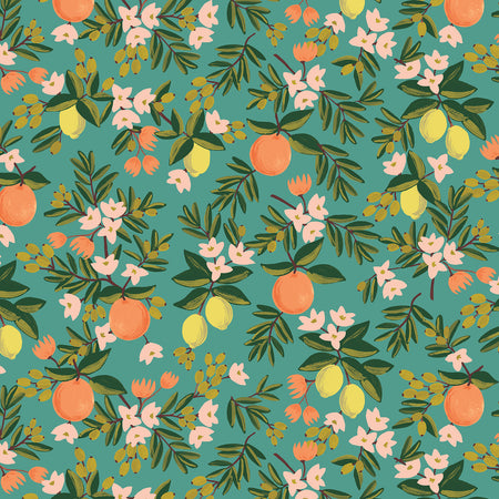 Citrus Floral in Teal Cotton from Primavera by Rifle Paper Co for Cotton + Steel - The Village Haberdashery