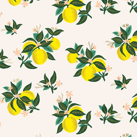 Lemon Metallic Citrus Blossom Cotton from Primavera by Rifle Paper Co for Cotton + Steel - The Village Haberdashery
