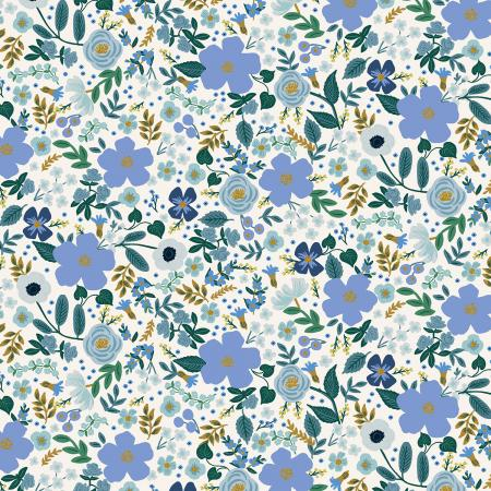 Blue Metallic Wild Rose Cotton from Garden Party by Rifle Paper Co for Cotton + Steel - The Village Haberdashery