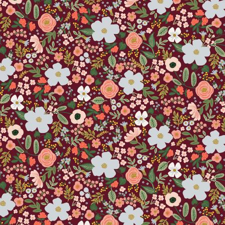 Burgundy Metallic Wild Rose Cotton from Garden Party by Rifle Paper Co for Cotton + Steel - The Village Haberdashery
