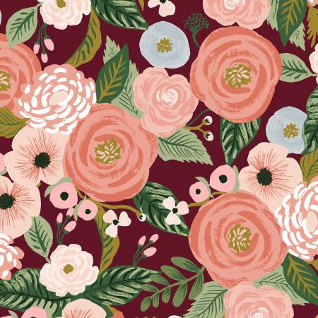 Burgundy Juliet Rose Linen Canvas from Garden Party by Rifle Paper Co for Cotton + Steel - The Village Haberdashery