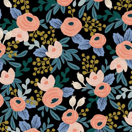 Black Rosa Unbleached Linen Canvas from Garden Party by Rifle Paper Co for Cotton + Steel - The Village Haberdashery
