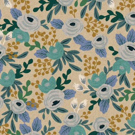 Blue Rosa Unbleached Linen Canvas from Garden Party by Rifle Paper Co for Cotton + Steel - The Village Haberdashery