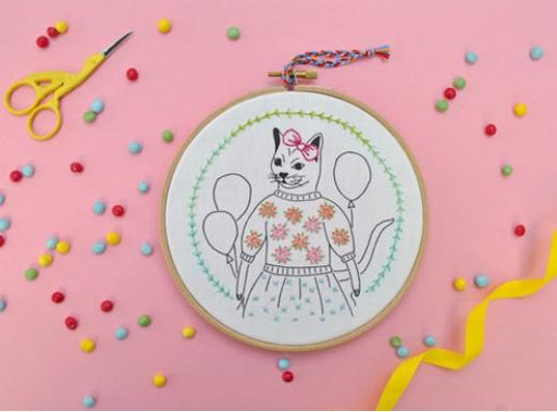 Kid's Embroidery Kit- Stitchpop party Cat - Level 2 - The Village Haberdashery