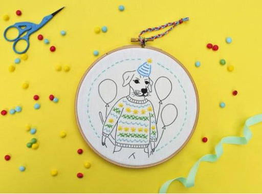 Kid's Embroidery Kit- Stitchpop party Dog - Level 1 - The Village Haberdashery