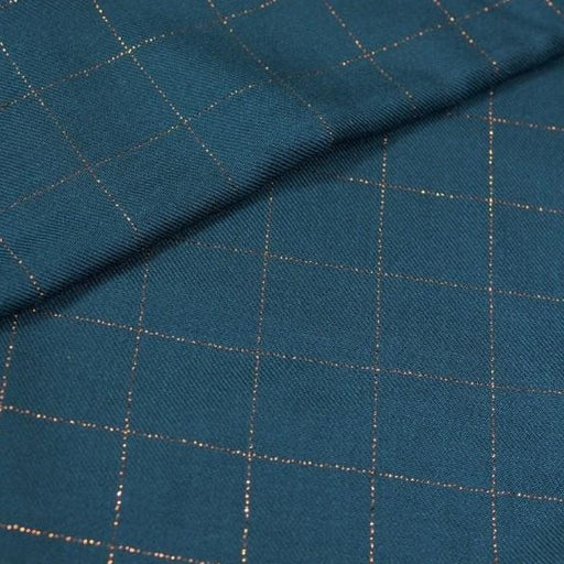 Petrol Lurex Copper Check Viscose Twill by Eglantine & Zoé - The Village Haberdashery