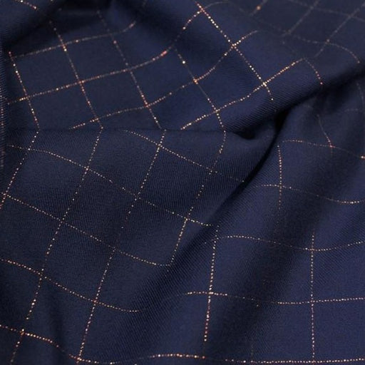 Midnight Lurex Copper Check Viscose Twill by Eglantine & Zoé - The Village Haberdashery