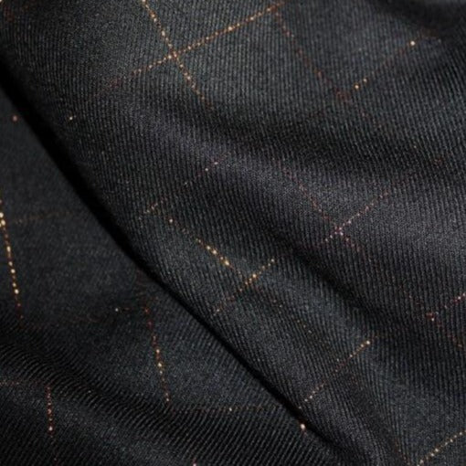 Black Lurex Copper Check Viscose Twill by Eglantine & Zoé - The Village Haberdashery