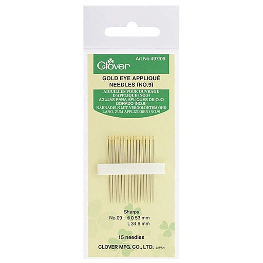 Clover Gold Eye Applique Needles - Size 9 - The Village Haberdashery