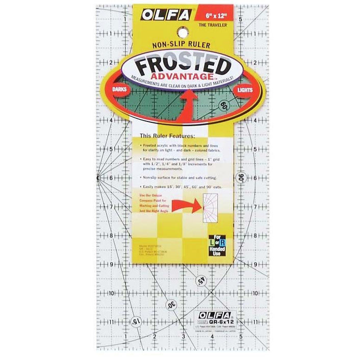 Olfa Non-Slip Quilting Ruler - 6 x 12 - The Village Haberdashery