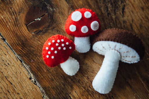 Handmade Toadstool Brooches - The Village Haberdashery