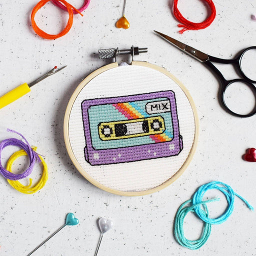 The Make Arcade Mini Cross Stitch Kit - Retro Cassette - The Village Haberdashery