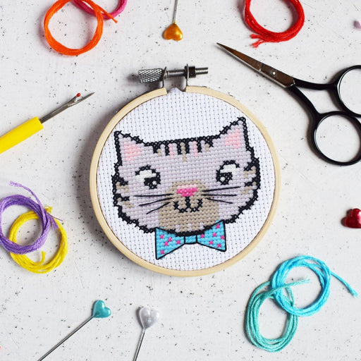 The Make Arcade Mini Cross Stitch Kit - Cool Kitten - The Village Haberdashery