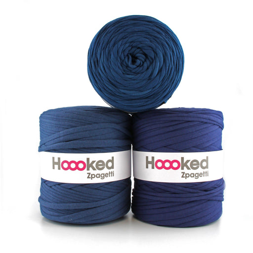 Hoooked Zpagetti T-Shirt Yarn - 120m Bobbins - Dark Blue Shades - The Village Haberdashery