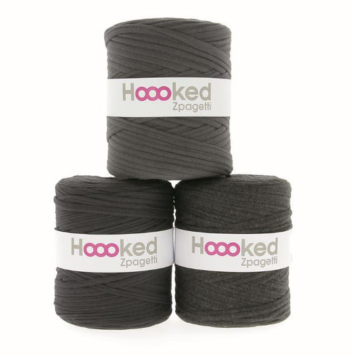 Hoooked Zpagetti T-Shirt Yarn - 120m Bobbins - Dark Grey Shades - The Village Haberdashery
