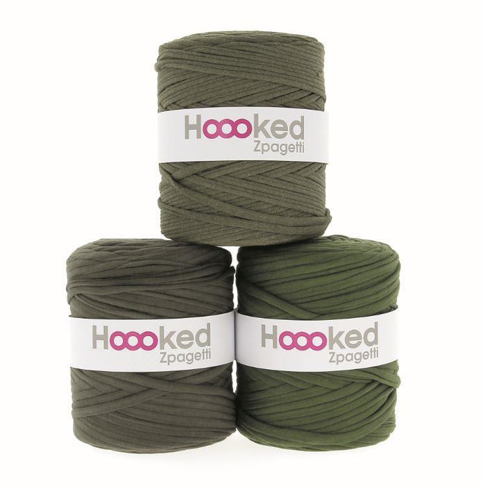 Hoooked Zpagetti T-Shirt Yarn - 60m Bobbins - Olive Green Shades - The Village Haberdashery