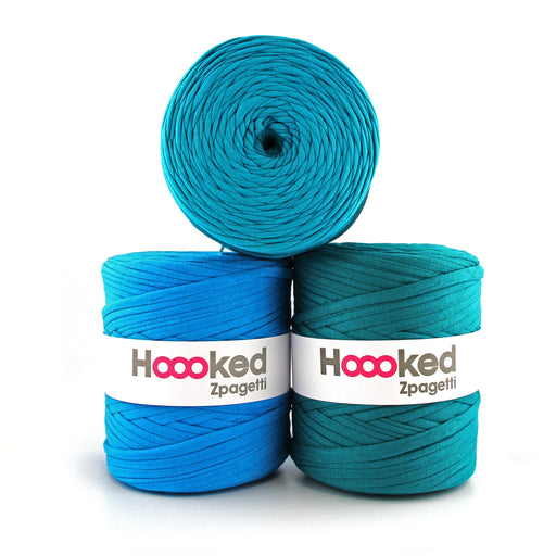 Hoooked Zpagetti T-Shirt Yarn - 120m Bobbins - Turquoise Shades - The Village Haberdashery