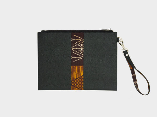 Leather pouch with brown kente