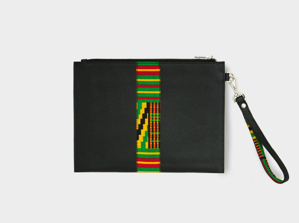 Leather pouch with green kente