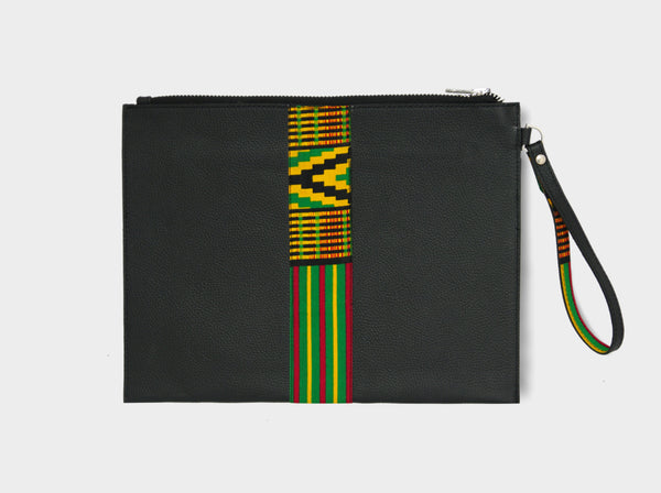 Large leather pouch with green Kente