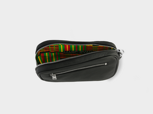 Pochette de voyage with green kente lining