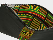 Load image into Gallery viewer, Large leather pouch with green Kente
