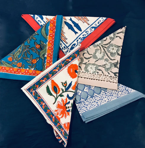 Hand-Block Printed Dinner Napkins (set of 4)