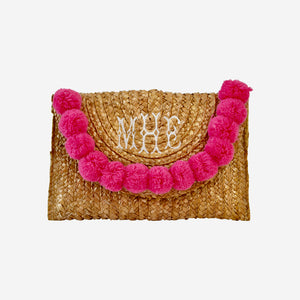 STRAW AND POM SNAP CLOSURE CLUTCH