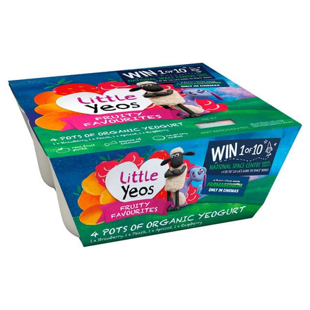 Little Yeos Fruity Favourites 4x90g Pots of Organic Yogurts (Strawberry, Peach, Apricot, Raspberry)