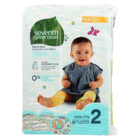 Seventh Generation Free & Clear Diapers Size 2, 36 pieces