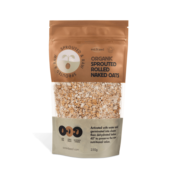 Sun & Seed Organic Sprouted Rolled Naked Oats 250g