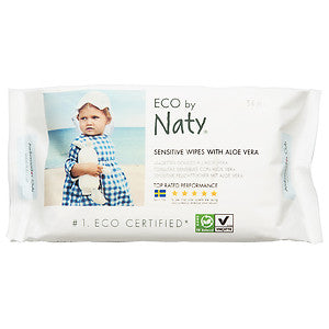 Eco by Naty Sensitive Wipes with Aloe Vera, 56 sheets