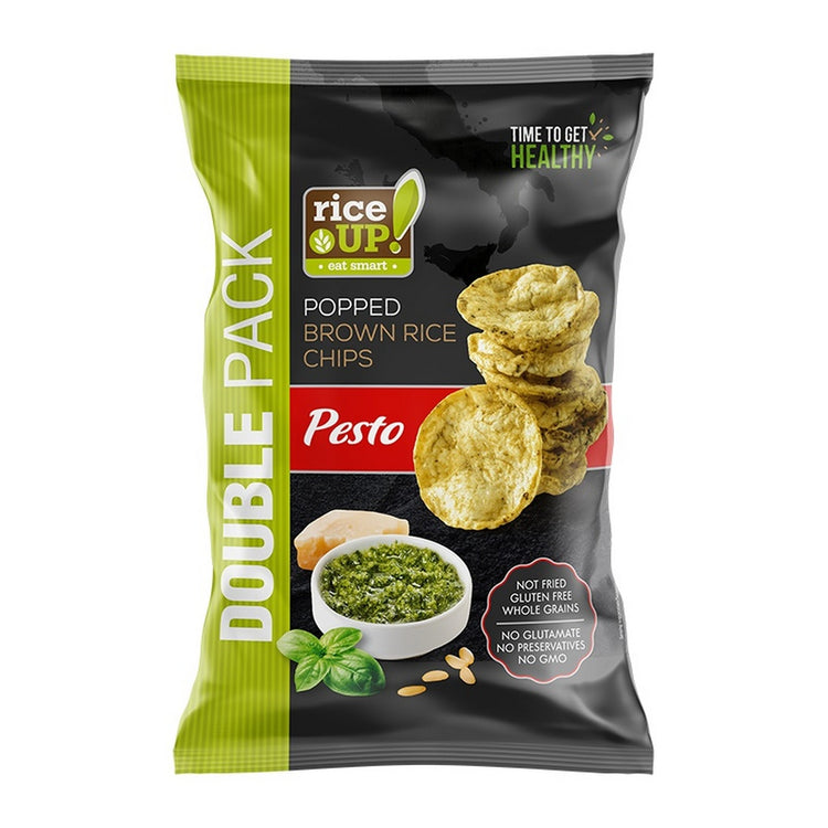 Rice Up Popped Brown Rice Chips Pesto 120g