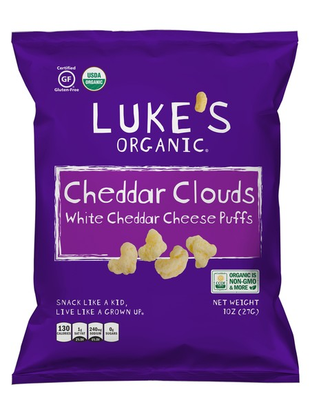 Luke's Organic Cheddar Clouds White Cheddar Cheese Puffs 27g