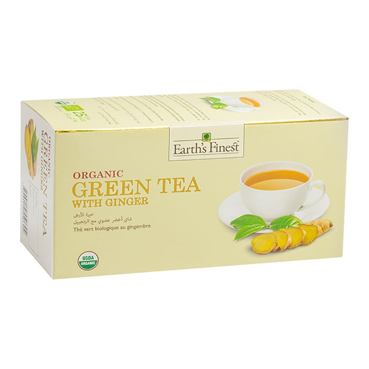 Earth's Finest Organic Green Tea with Ginger, 25 tea bags