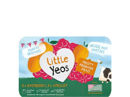 Little Yeos Fruity Fromage Frais 3 x Raspberry, 3 x Apricot 6x45g