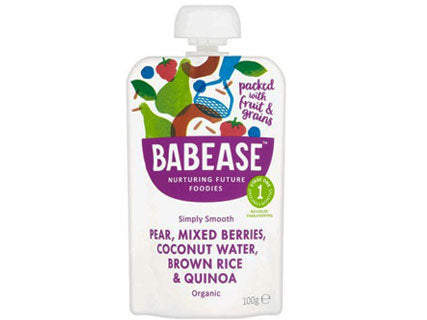 Babease Organic Pear, Mixed Berries, Coconut Water, Brown Rice & Quinoa 100g