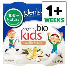 Glenisk Organic Kids No Added Sugar Vanilla Yogurt 4x90g
