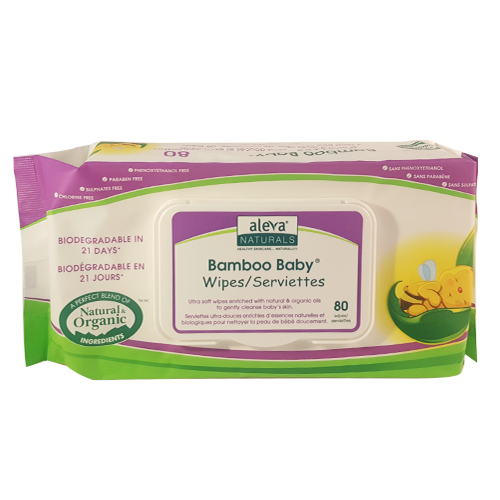 Aleva Naturals Organic Bamboo Baby Wipes, 80 Wipes